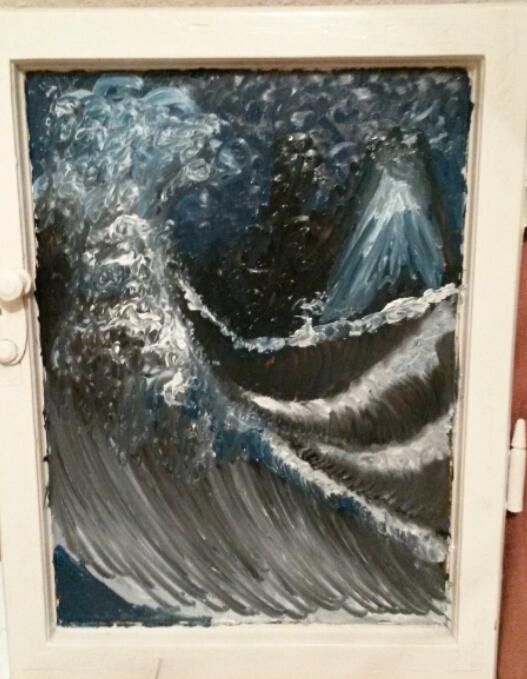 Hokusai auf dem Fenster